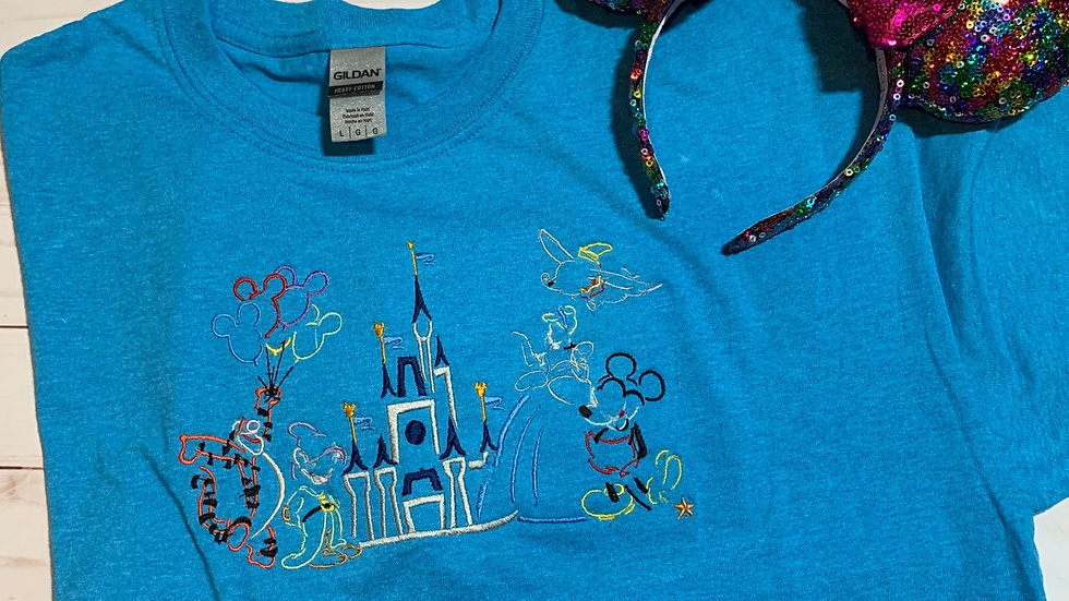 Parade of Characters embroidered T-Shirt or tank top