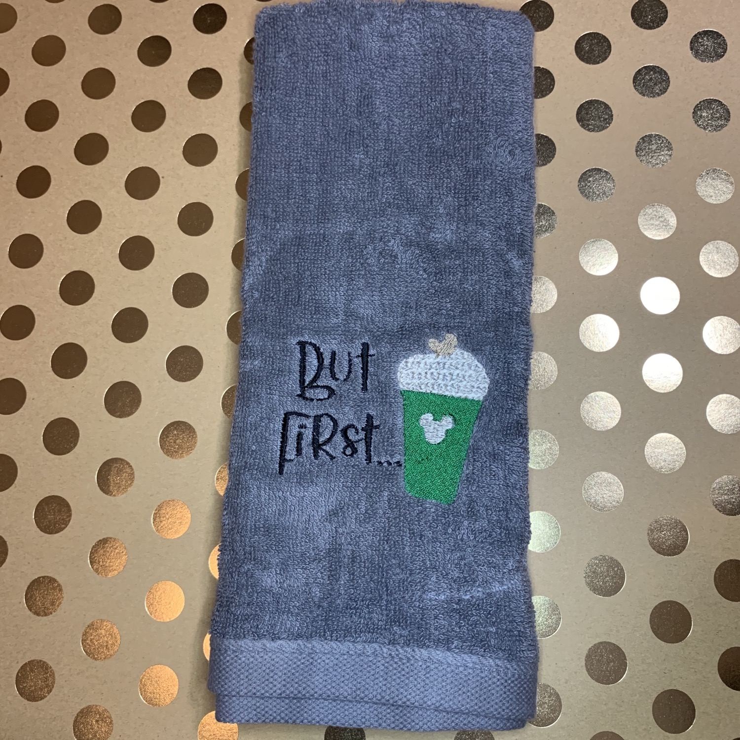 But first coffee embroidered towels, blanket, makeup bag