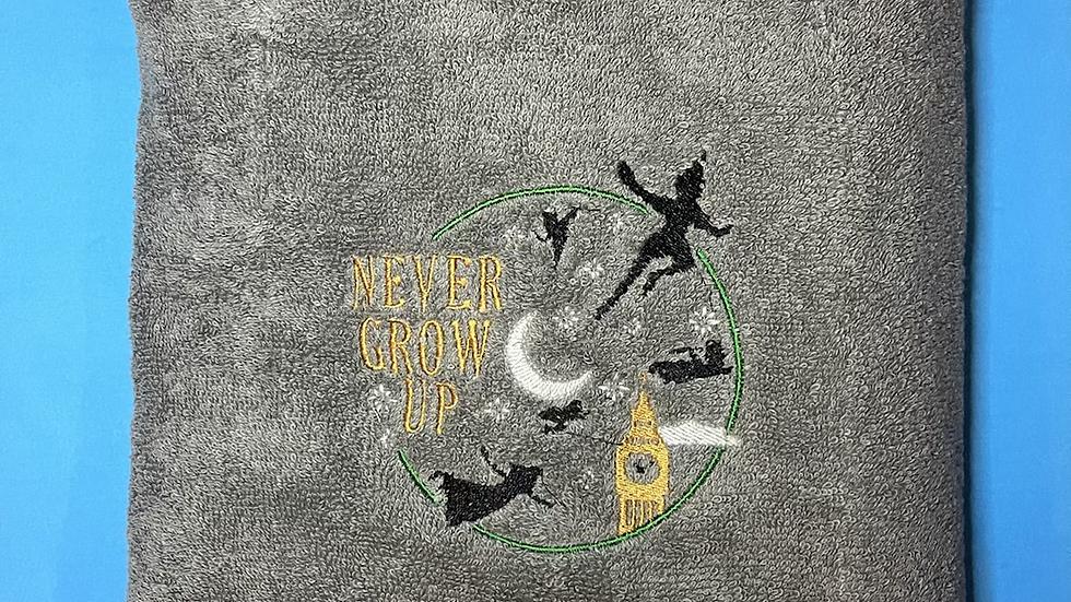Never Grow Up - Peter Pan towels, makeup bag, tote bag
