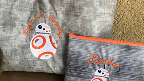 BB8 droid embroidered towel,blanket, tote bag makeup bag - Name embroidery avail