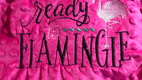 Ready to flamingle embroidered towel , blanket , tote bag , makeup bag