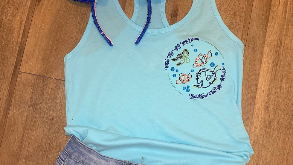 Just Keep Swimming - Finding Nemo embroidered t-shirt or tan