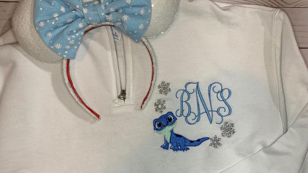 Bruni Monogram embroidered hoodie, pullover, 1/4 zip