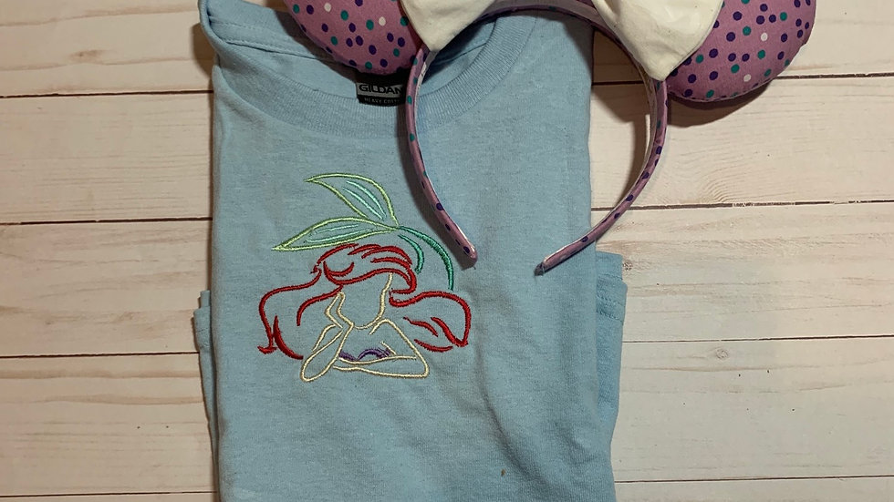 Ariel sketch embroidered T-Shirt or tank top