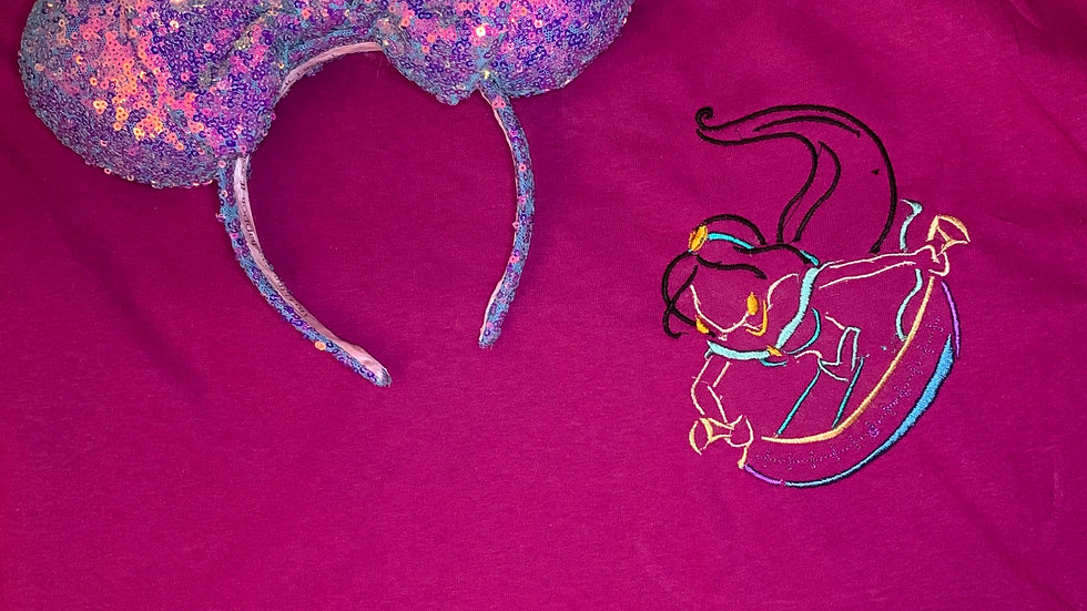 Jasmine's Flying Carpet embroidered t-shirt or tan