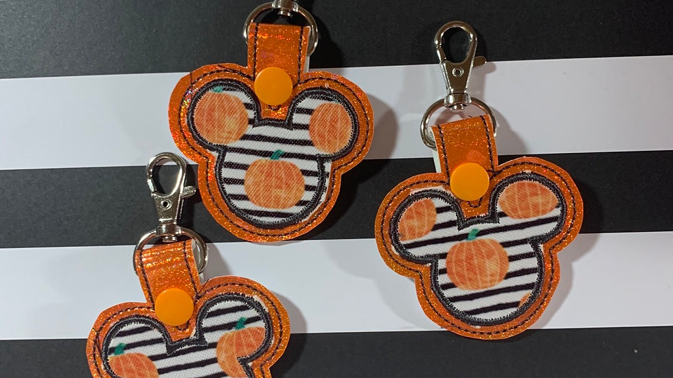 Striped Pumpkin on Orange Mickey head keychain