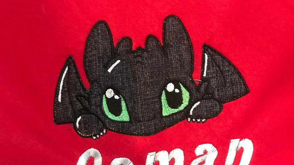 Toothless Dragon embroidered blanket, towel, makeup bag, tote bag