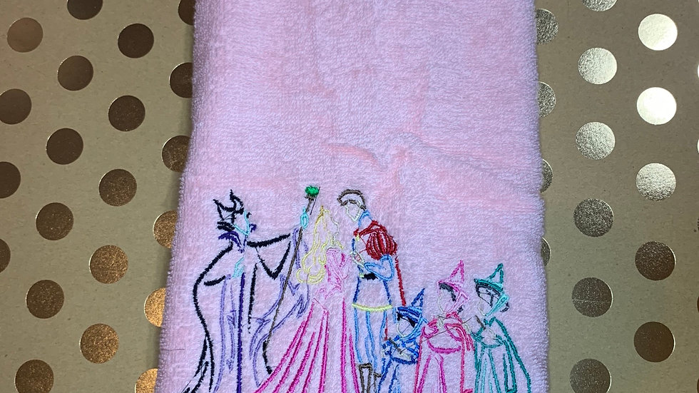 Sleeping Beauty Scene embroidered towels, blanket, makeup bag