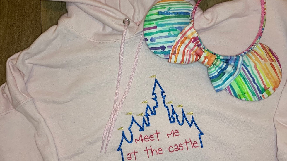 Meet me at the Castle embroidered hoodie, pullover, 1/4 Zip