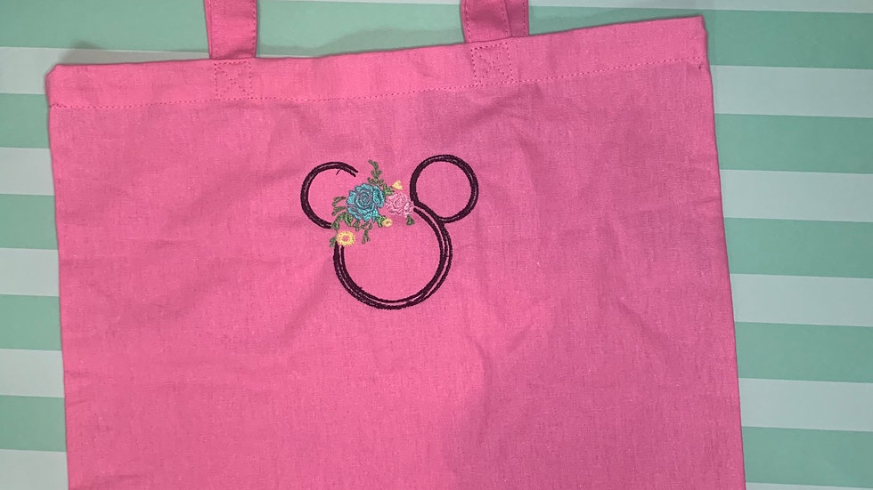 Floral Mickey embroidered market tote