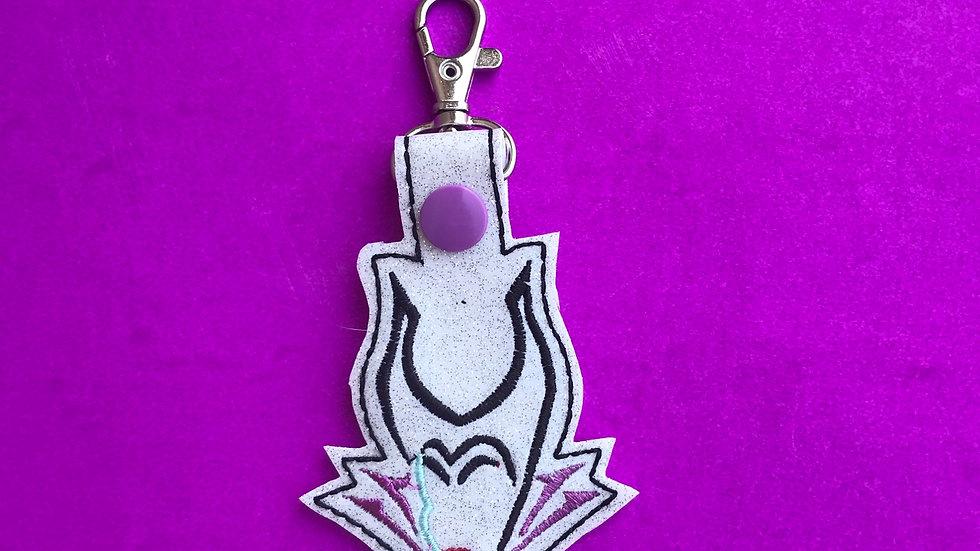 Maleficent embroidered keychain