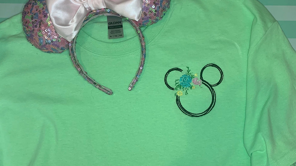 Floral Mickey embroidered t-shirt or tank top