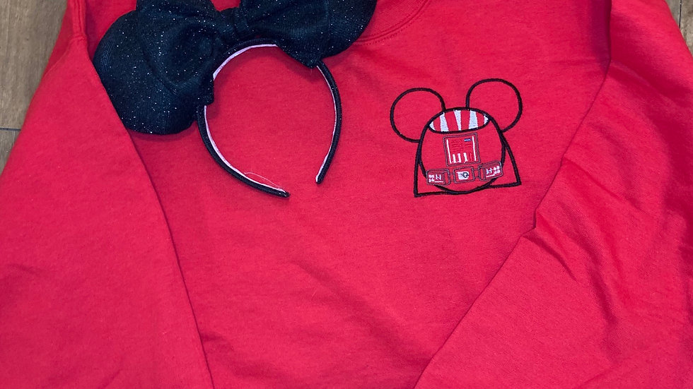 Vader Mouse embroidered hoodie, pullover, 1/4 z