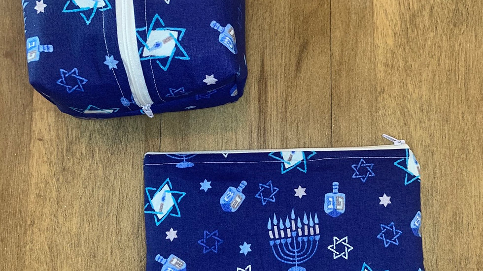 Hanukah boxy bag or makeup bag