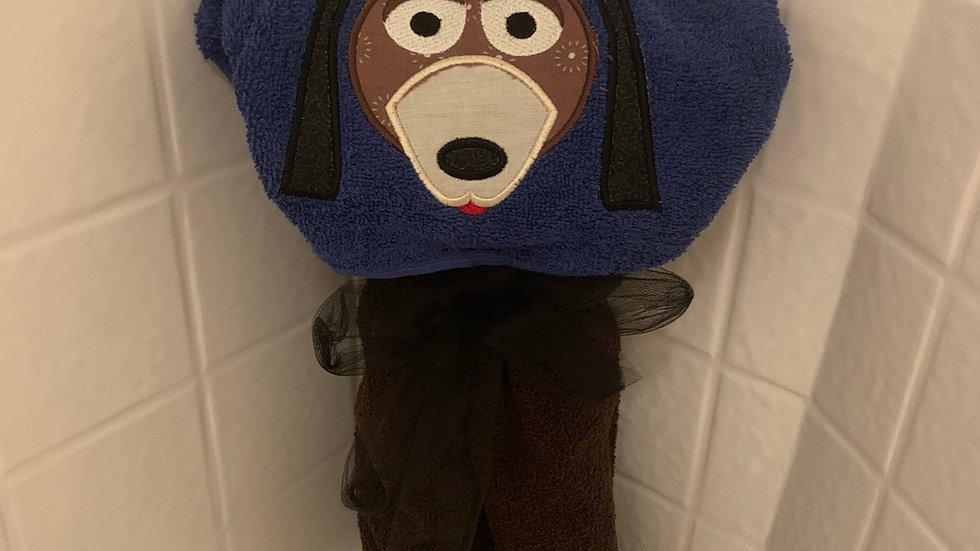 Slinky Dog embroidered hooded towel