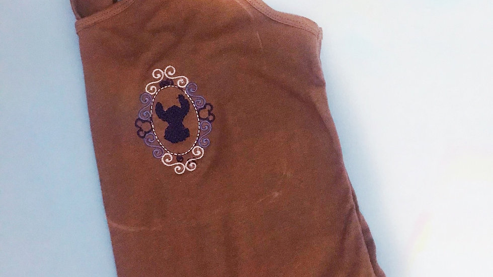 Framed Stitch silhouette embroidered t-shirt or tank top