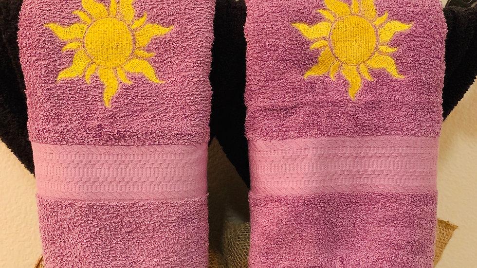 Rapunzel sun embroidered towels, blanket, makeup bag or tote bag - Name embroide