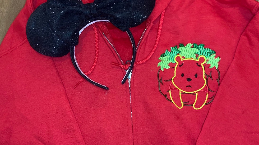 Oh Bother - Pooh Bear embroidered zip up hoodie