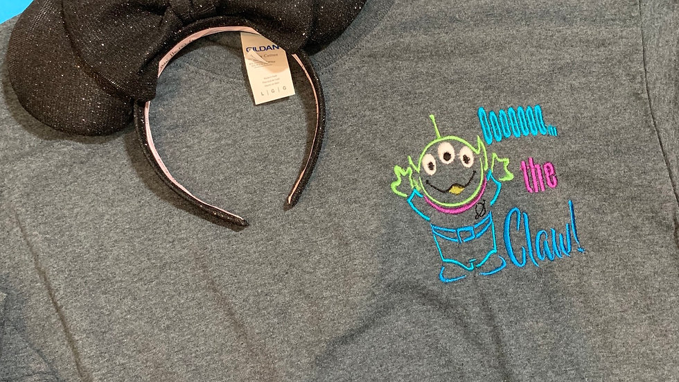 OOOOO the claw, little green men embroidered T-Shirt or tank top