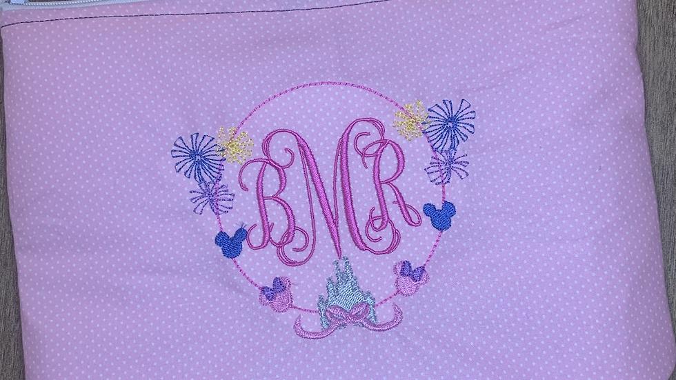 Castle Fireworks Monogram towels, makeup bag, tote