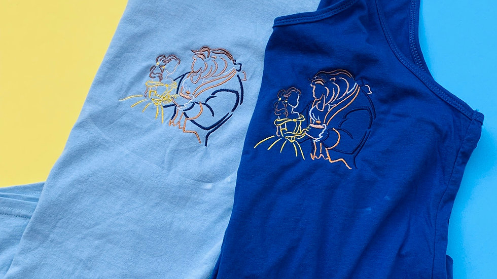 Beauty and the Beast embroidered T-Shirt or tank top
