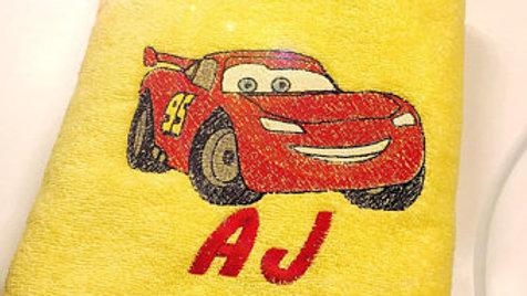 Lightening McQueen Embroidered towel, makeup bag, tote bag or blanket - Name emb