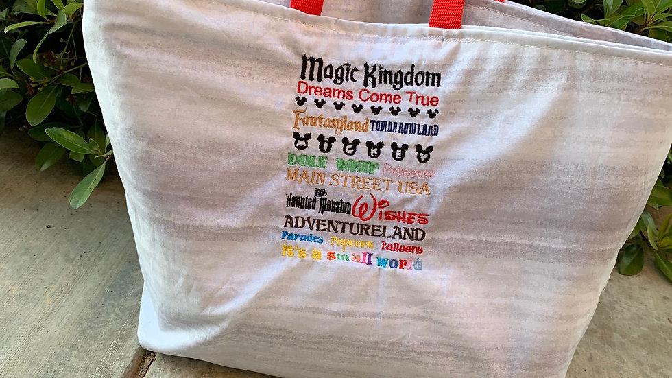 Magic Kingdom embroidered tote bag, makeup bag, towel or blanket