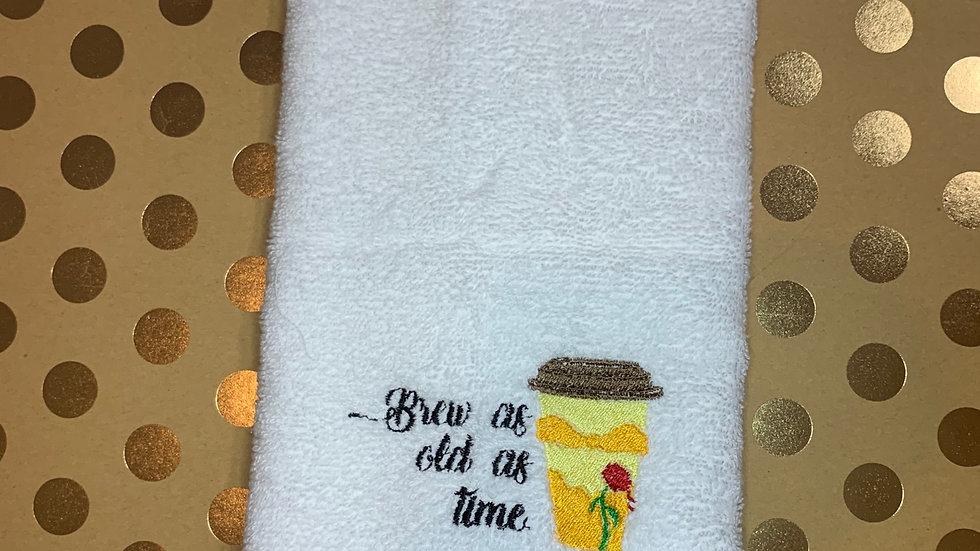 Belle Coffee embroidered towels, blanket, makeup bag