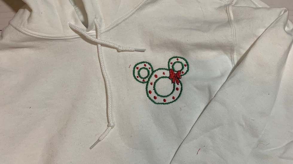 Mickey Mouse holiday wreath embroidered hoodie, pullover, 1/4 zip