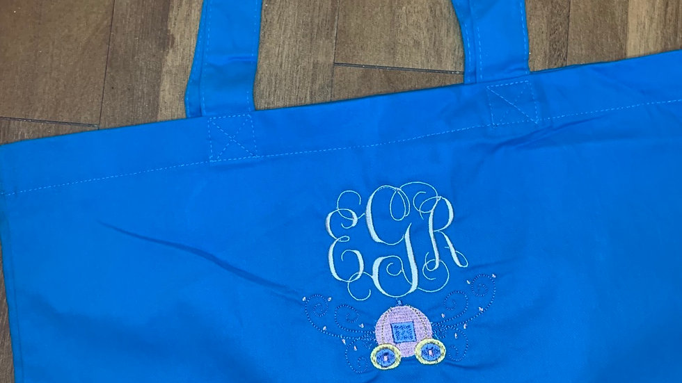 Cinderella Carriage Inspired Monogram Large Canvas tote