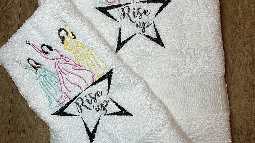 Hamilton Rise Up towels, makeup bag, tote bag