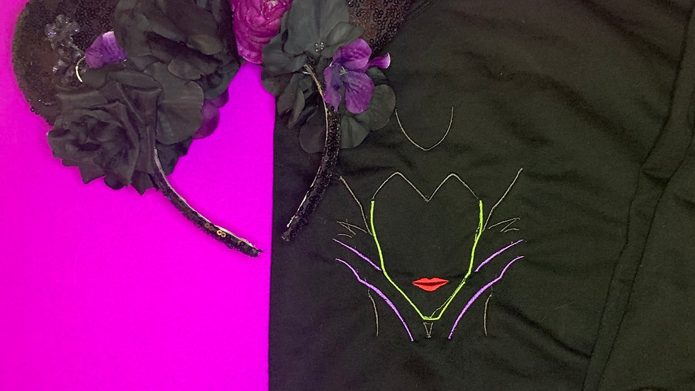 Maleficent embroidered hoodie, pullover, 1/4 zip