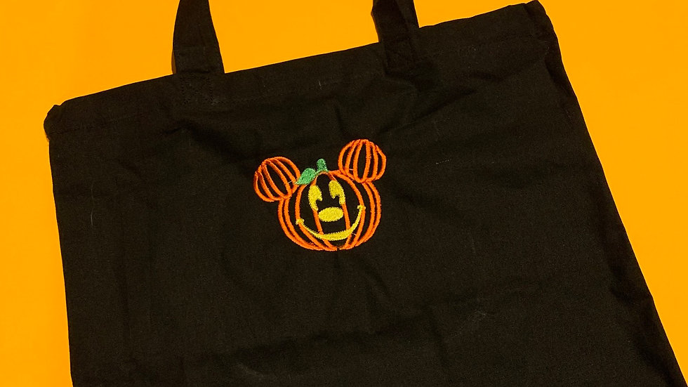 Mickey pumpkin embroidered market tote