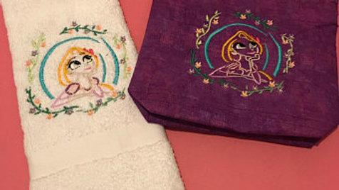 Floral Rapunzel Hand Towel/ Bath Towel/ Makeup Bag/ Tote bag/blanket