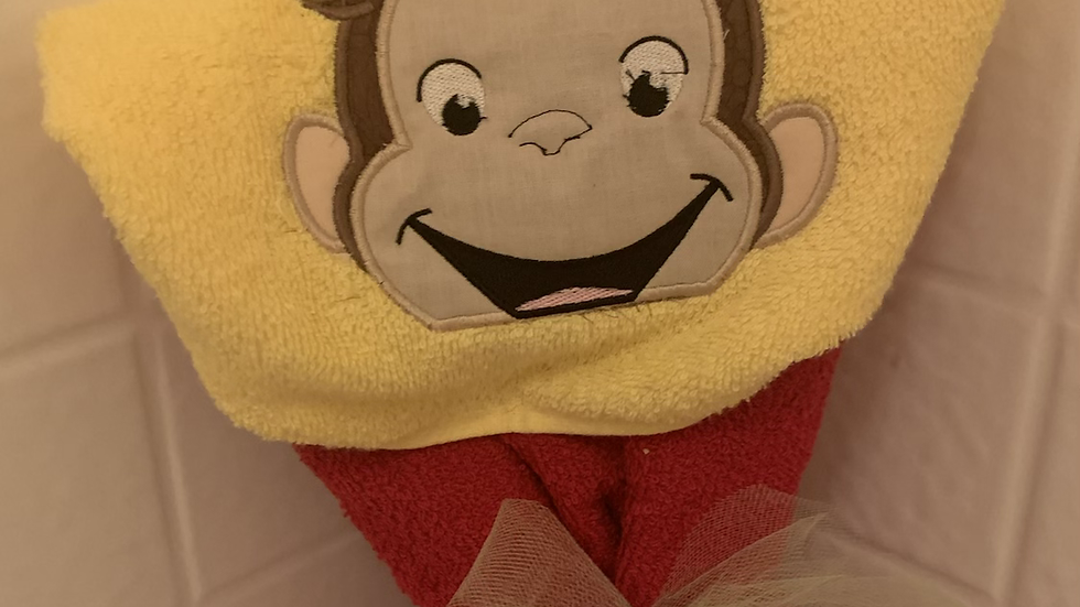 Curious George Monkey embroidered hooded towel