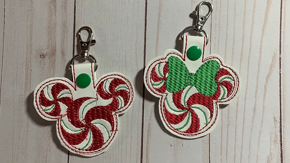 Minnie or Mickey peppermint embroidered keychain