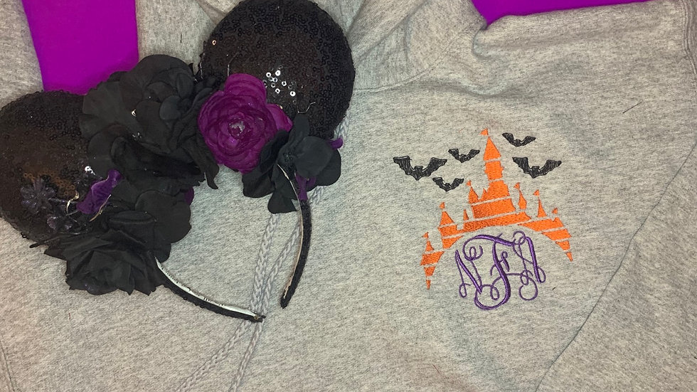 Halloween Castle Monogram embroidered zip up hoodie