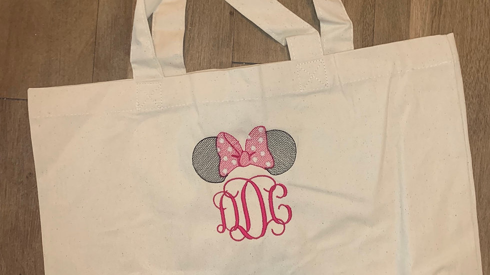 Minnie Mouse Monogram Large Canvas tote