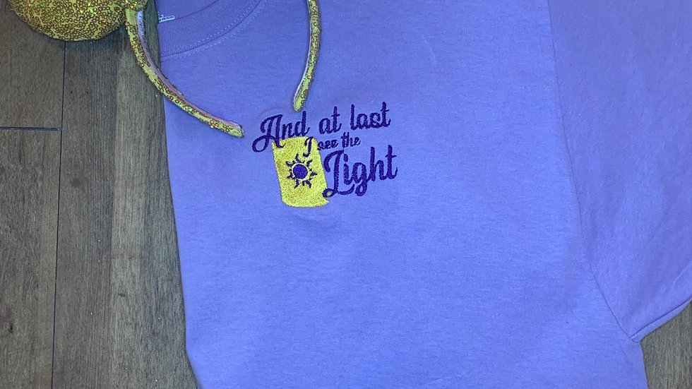 At Last I See the Light embroidered t-shirt or tank