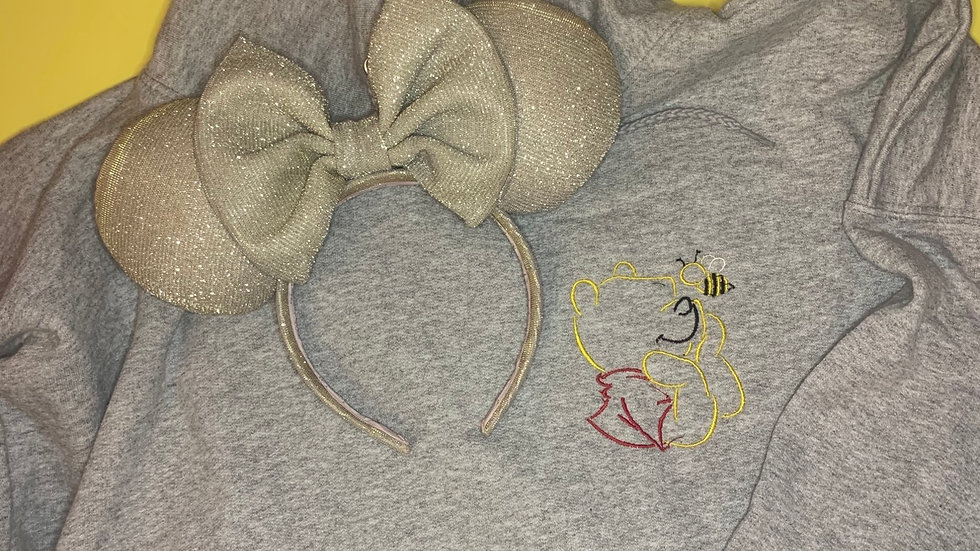 Pooh with Hunny Bee embroidered hoodie, pullover, 1/4 zip