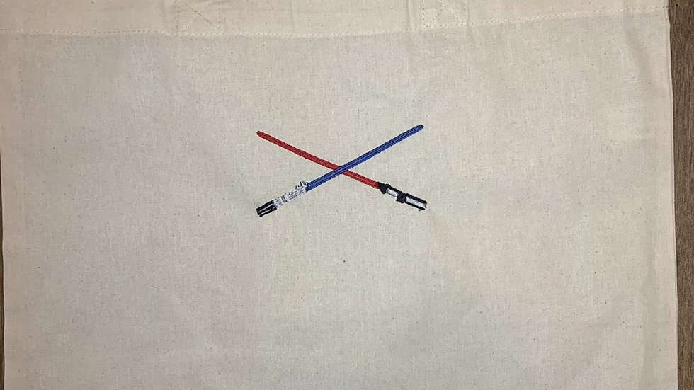 Dueling Light Sabers embroidered market tote