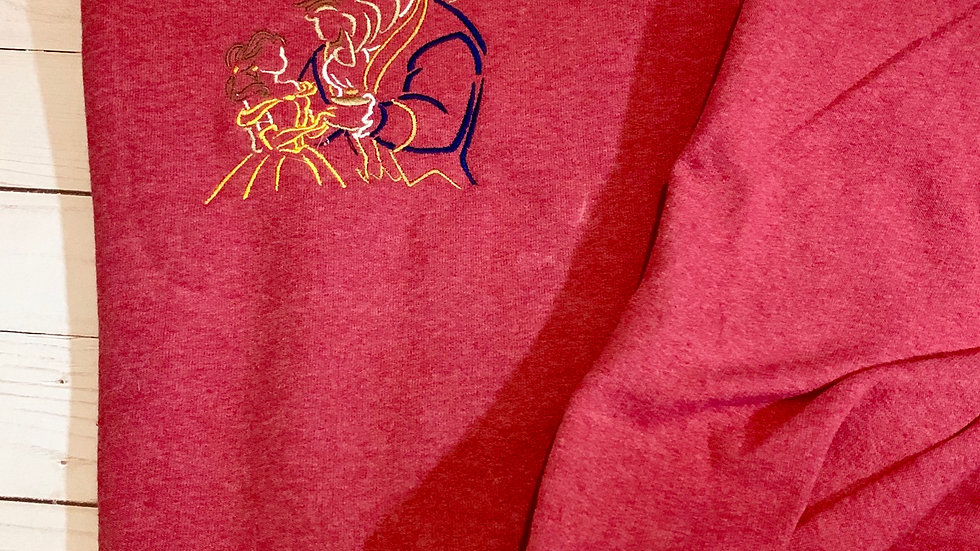 Beauty and the Beast embroidered 1/4 zip, hoodie or pullover