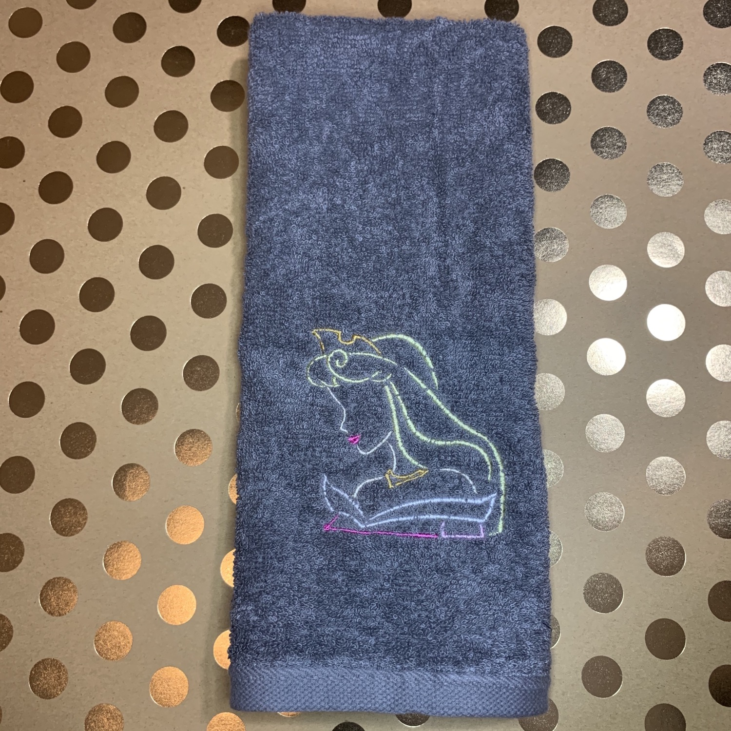 Aurora Side Profile embroidered towels, blanket, makeup bag