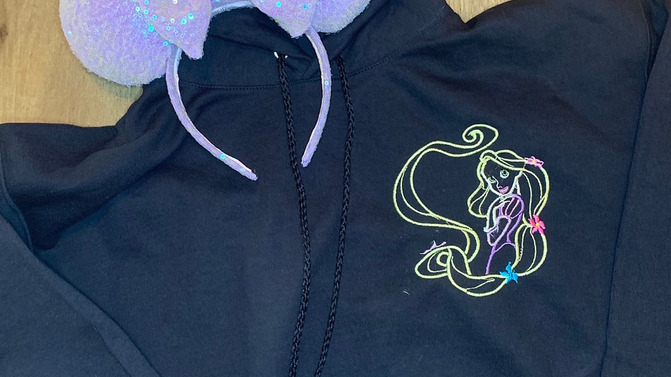 Rapunzel embroidered hoodie, pullover, 1/4