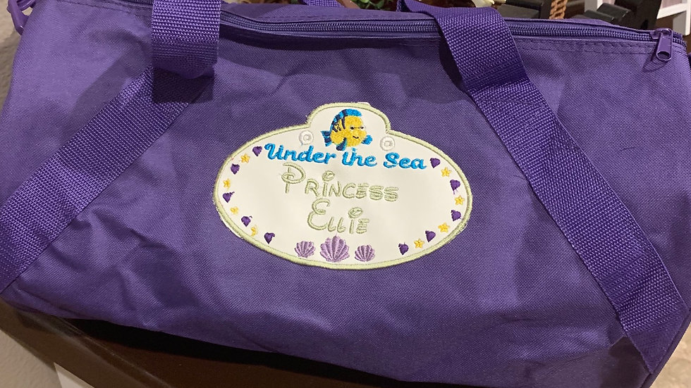 Little Mermaid name tag embroidered duffel bag