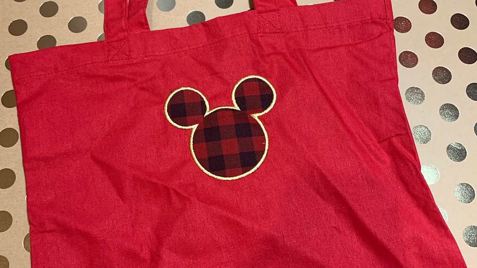 Buffalo Plaid Mouse embroidered market tote