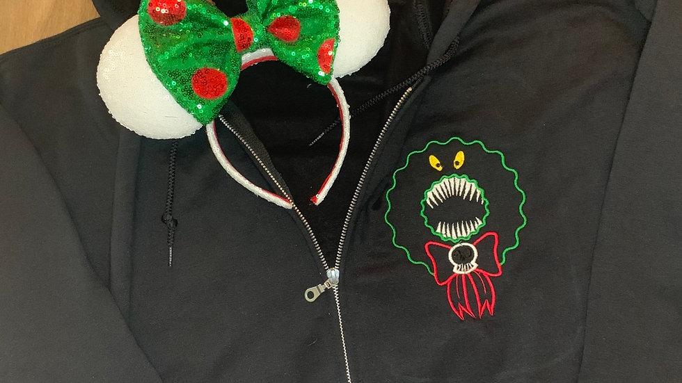 Man Eating Wreath embroidered zip up hoodie