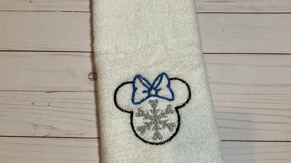 Minnie Mouse Snowflake embroidered towels, blanket, makeup bag or tot