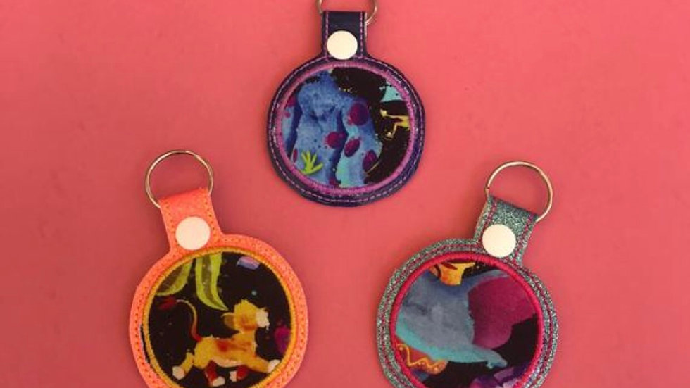Water color Disney silhouettes keychains