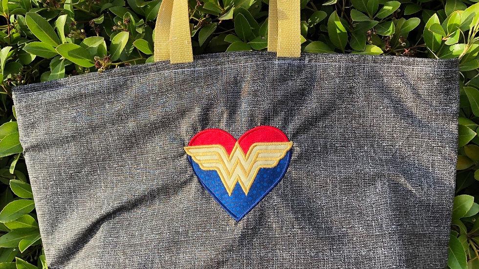 Wonder Woman Love tote bag, makeup bag, towel or blanket - Name embroidery avail